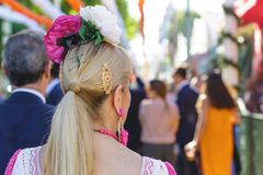 Coiffure espagnole de flamenco Folklore espagnol Photos stock