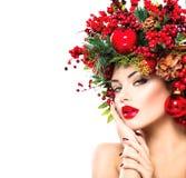 Coiffure et maquillage de nouvelle année image stock