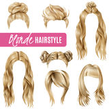 Coiffures For Blond Women Set. Set of coiffures for blond women with stylish haircuts and long hair, braided strands isolated vector illustration Stock Photography