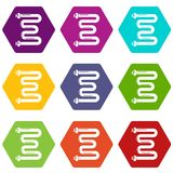 Coil battery icons set 9 vector. Coil battery icons 9 set coloful isolated on white for web Stock Image