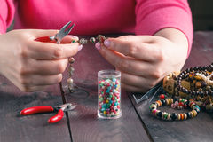 Coil,beads and tools for needlework Stock Photography