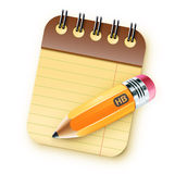 Coil bound notebook. Vector illustration of sharpened fat yellow pencil with coil bound notebook stock illustration