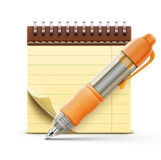 Coil bound notebook. Vector illustration of detailed orange ballpoint pen with coil bound notebook royalty free illustration