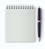 Coil bound notebook. Vector illustration of detailed black classic ballpoint pen with coil bound notebook vector illustration