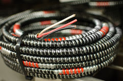 A coil of electrical cable. Stock Photo