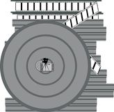 Coil with a film. Coiled coil with the film and packed in special containers for the storage of film Royalty Free Stock Image
