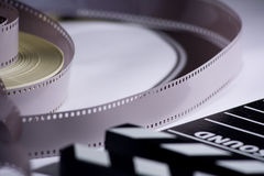 Coil and film into a movie clapper for film production Stock Photo