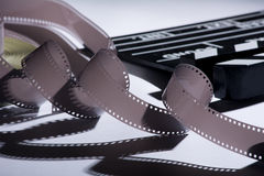 Coil and film into a movie clapper for film production Royalty Free Stock Image