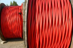 Coil of high voltage power cable the power the electric utilitie Royalty Free Stock Images