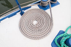 Coil of marine rope. On boat Stock Image