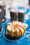 Coil on a motherboard Royalty Free Stock Photos
