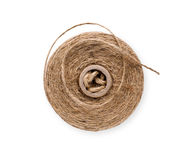 Coil of natural rope on white background Stock Image