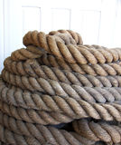A Coil of Old Mooring Line Stock Photo