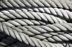Coil of old rope. Once used to tie ships to pier Royalty Free Stock Images