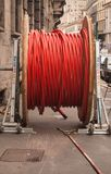 Coil of a red and special coiled plastic sheath royalty free stock photo