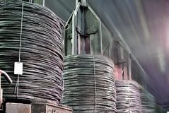 Coil rod production. Bull rod, coil rod, rolled wire production Stock Images