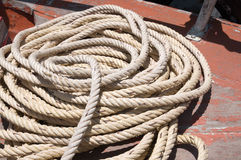 Coil of rope. On the boat Stock Image