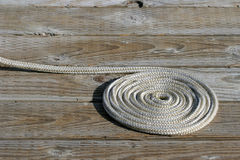 Coil of rope. One a dock in the marina at yellowstone national park, wyoming Royalty Free Stock Images