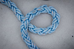 Coil of rope. Blue rope or line from a boat Royalty Free Stock Photo