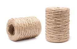 Coil of rope flaxen threads. Isolated on white background Stock Photography