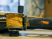 Coil rope on the spear gun Stock Image