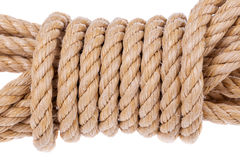 Coil of rope twisted into a roll. Royalty Free Stock Photos