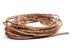 A coil of rope on white Stock Photo