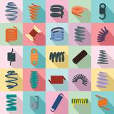 Coil spring cable icons set, flat style. Coil spring cable icons set. Flat illustration of 25 coil spring cable vector icons for web Stock Images