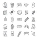 Coil spring cable icons set, outline style. Coil spring cable icons set. Outline illustration of 25 coil spring cable vector icons for web Stock Image
