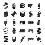 Coil spring cable icons set, simple style. Coil spring cable icons set. Simple illustration of 25 coil spring cable vector icons for web Stock Photos