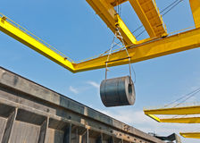 Coil steel shipping at a port Royalty Free Stock Image