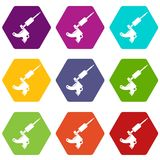 Coil tattoo machine icon set color hexahedron Royalty Free Stock Photography