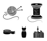 Coil of thread, centimeter, dress, ball of thread with knitting needles.Atelier set collection icons in cartoon style. Vector symbol stock illustration Stock Photography