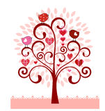 Coil Tree with leaves birds hearts stock illustration