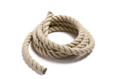 Coil of white rope. On isolated background Stock Images