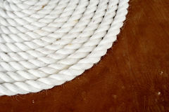 Coil of White Shipping Rope Stock Images