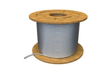 Coil of wire. Coil of aluminium wire  (isolated on white Stock Photo