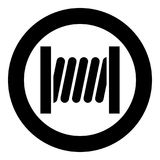 Coil with wire icon black color in circle round. Vector illustration Royalty Free Stock Photos