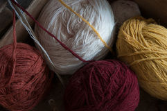 Coil of wool yarn in different colors. Royalty Free Stock Image