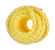 Coil of yellow rope Stock Images
