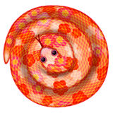 Coiled Chinese New Year Snake Illustration. Coiled Chinese New Year Snake with Cherry Blossom Pattern Illustration Isolated on White Background Royalty Free Stock Photo