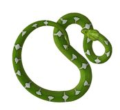 coiled green snake with white diamonds 300 dpi Royalty Free Stock Image