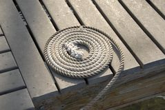 Coiled Line on the Dock Stock Photos