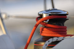 Coiled line on winch Stock Photos