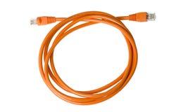 coiled nätverk för kabel arkivbild