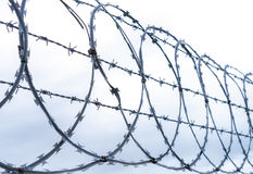 Coiled razor and barbed wire fence Royalty Free Stock Photos