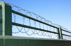 Coiled Razor Wire Barrier Atop Green Painted Brick Wall Stock Photography
