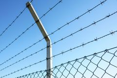 Coiled razor wire with its sharp steel barbs on top of a mesh perimeter fence ensuring safety and security. Preventing access or the escape prisoners, blue sky Stock Photos