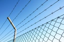 Coiled razor wire with its sharp steel barbs on top of a mesh perimeter fence ensuring safety and security. Preventing access or the escape prisoners, blue sky Stock Images