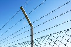 Coiled razor wire with its sharp steel barbs on top of a mesh perimeter fence ensuring safety and security. Preventing access or the escape prisoners, blue sky Royalty Free Stock Images